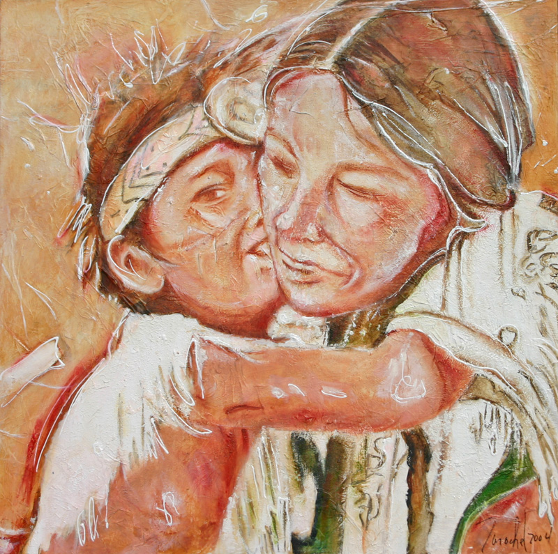 Pow Wow, Technique mixte, 20'' x 20'' (50 x 50 cm), 2004