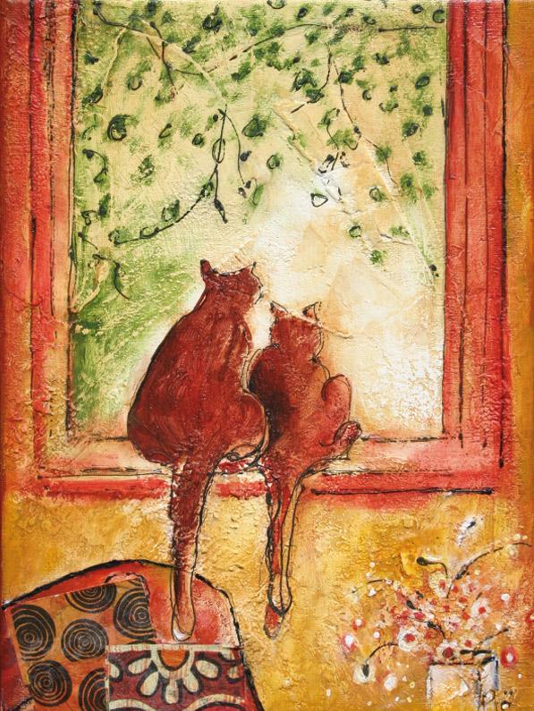 Chats à la fenêtre, Technique mixte, 9'' x 12''