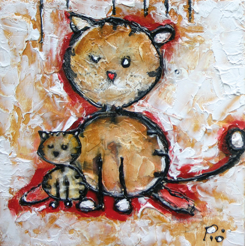 Mes chats, Technique mixte, 6'' x 6''
