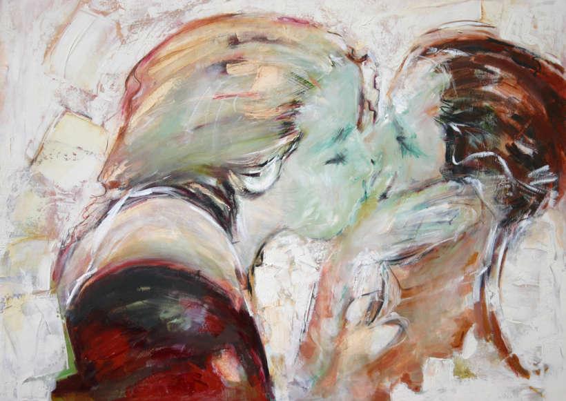 """Comme je t'aime, Technique mixte, 40"""" x 30"""" (102 x 76 cm), 2004"""